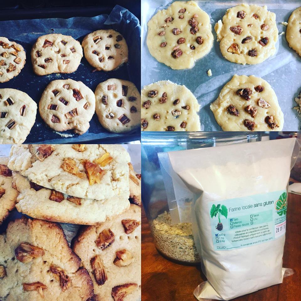 Cookies à la farine de taro et aux paillettes d'ananas et banane séchées de la CAP