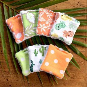 Lingettes réutilisable aux motifs tropical à retrouver à Eco Vrac
